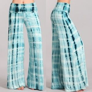 Pants - Plus size Tie Dye wide leg Palazzo Pants 1X 2X 3X